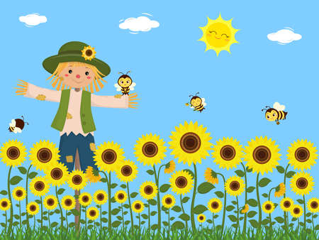 Sunflowers, a scarecrow and cute bees collect nectar. Blue sky, sun, clouds, grass. Vector, cartoon style Ilustração