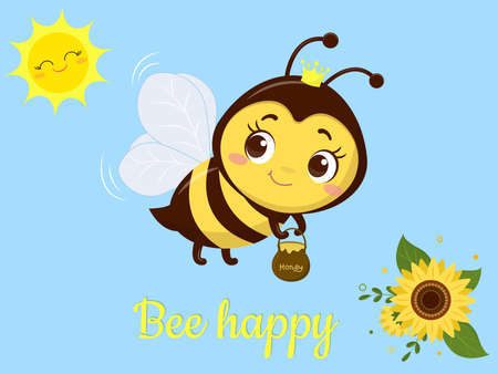Character cute Honey bee with a pot of honey flies, sunflower flower and leaves on blue background. Vector, cartoon style.