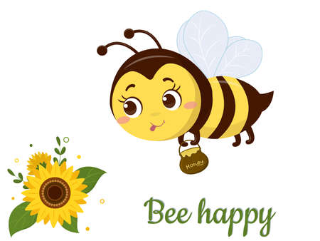 The character of a cute honey bee with a pot of honey flies to a sunflower flower and leaves on a white background. Vector, cartoon style Ilustração