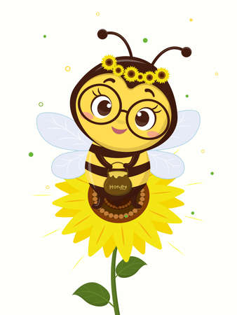 Character cute honey bee with honey pot sits on a sunflower flower and leaves on a white background. Vector, cartoon style