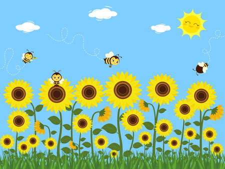 Cute bees collect nectar on sunflowers with leaves. Summer, sun, grass. Vector illustration.