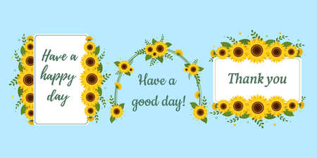 A set of three postcards in a rectangular white frame and an arch with sunflowers on a blue background. Vector illustration for your design Ilustração