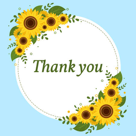 Thank you card round white frame with sunflowers on a blue background. Vector illustration Ilustração