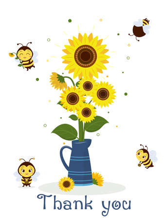 Postcard bouquet of sunflowers in a blue jug and four cute bees on a white background. Vector illustration, cartoon style.