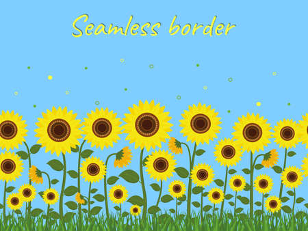 Horizontal seamless border with yellow sunflowers and green grass on a blue sky background. Vector illustration Ilustração