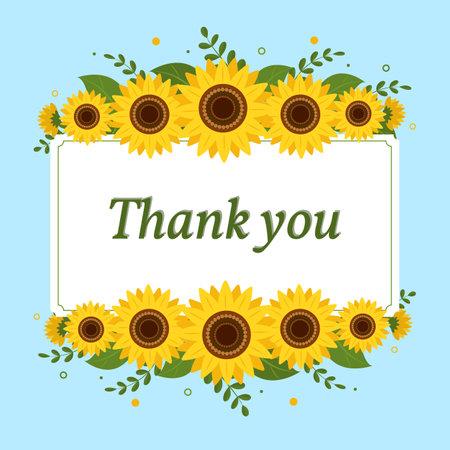 Thank you card rectangular white frame with sunflowers on a blue background. Vector illustration Ilustração