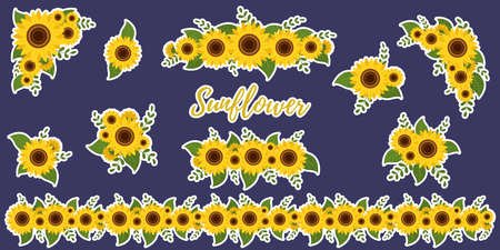 Sunflower bouquets stickers, collection of ten elements in a white outline on a blue background. Vector illustration