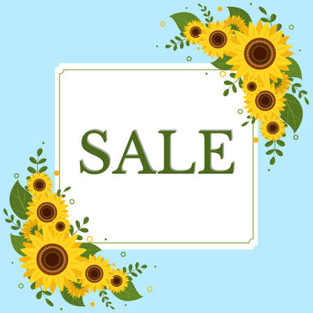 Sale square frame with two bouquets of sunflowers on a blue background. Vector illustration Ilustração