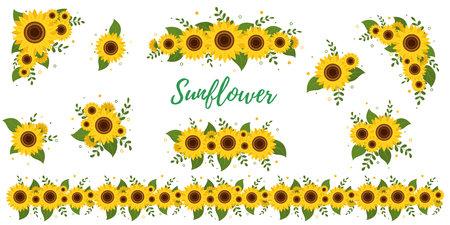 Sunflower bouquets stickers, collection of ten elements on white background. Vector illustration Ilustração