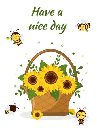 Postcard bouquet of sunflowers in a basket and four cute bees on a white background. Vector illustration, cartoon style
