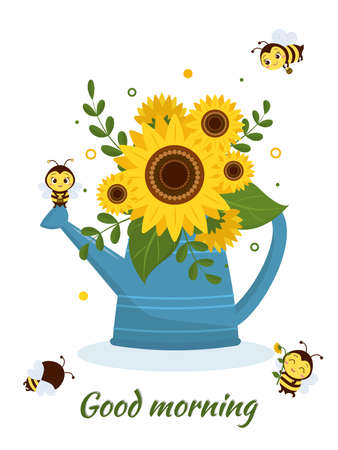 Postcard bouquet of sunflowers in a blue watering can and four cute bees on a white background. Vector illustration, cartoon style Ilustração