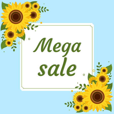 Mega sale square frame with two bouquets of sunflowers on a blue background. Vector illustration