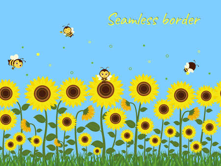 Horizontal seamless border with yellow sunflowers, green grass and bees collecting nectar against the blue sky. Vector illustration
