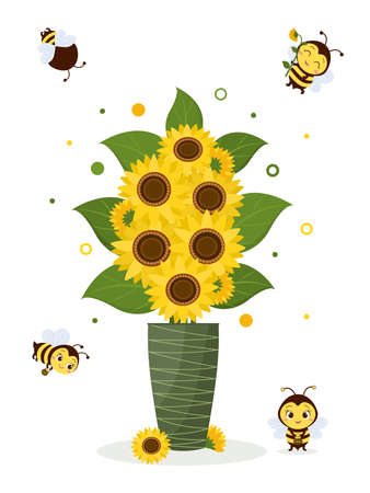 Postcard bouquet of sunflowers in a green vase and four cute bees on a white background. Vector illustration, cartoon style