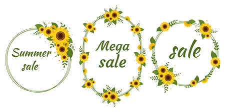 Sale set of three round frames round frame with a bouquet of sunflowers on a white background. Vector illustration Ilustração
