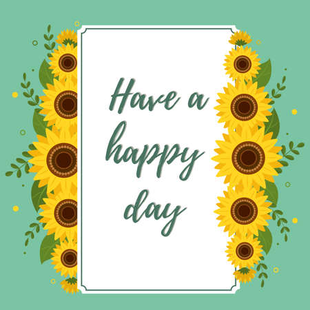 Happy day greeting card rectangle white frame with sunflowers on a green background. Vector illustration Ilustração