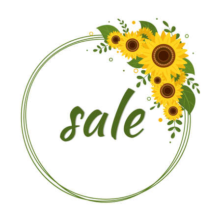 The sale card is a round frame with a bouquet of sunflowers on a white background. Vector illustration Ilustração