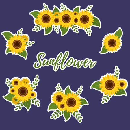 Stickers sunflower and leaves, collection of six bouquets in white outline on a blue background. Vector illustration Ilustração