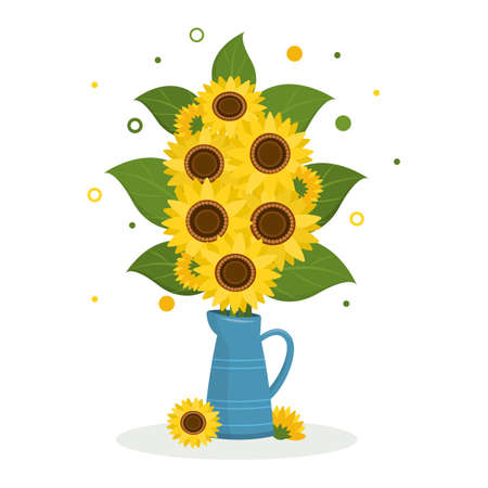 Postcard bouquet of sunflowers and leaves in a jug for flowers on a white background. Vector illustration