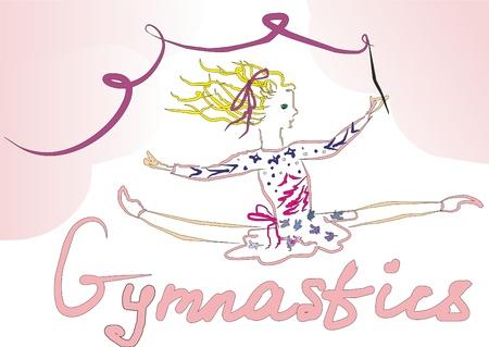 enfant maillot de bain: La gymnastique artistique. Sports. Une fille avec un ruban dans les criques.