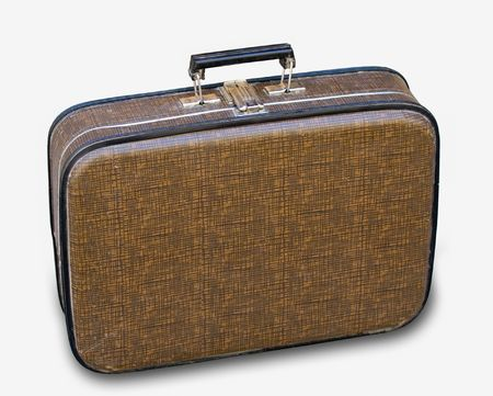 valise: Old-time brown valise for journey Stock Photo