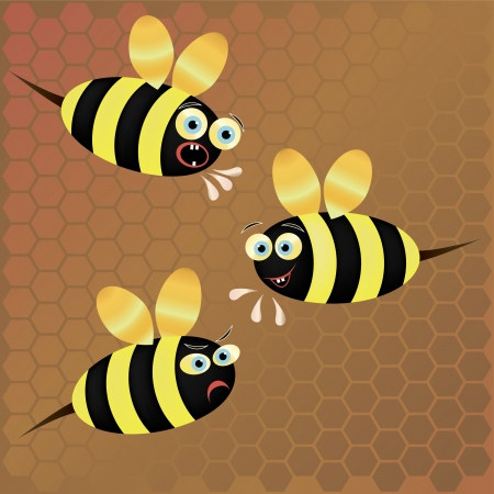 drones: Three vector bees on honeycomb background Illustration