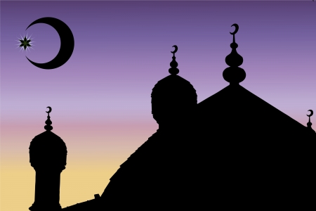 relegion: Vector minaret and mosques in the sky Illustration