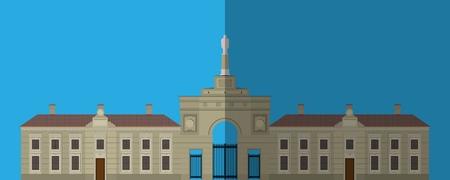 Icono de palacio. Imagen plana. Es un gran edificio de fachada monumental