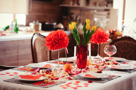 beautiful romantic table, Valentines day, gentle evening