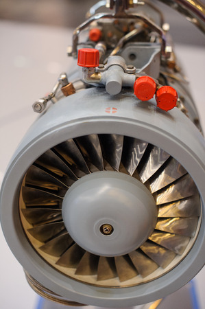 Kiev, Ukraine - October 12, 2017: turbojet engine production ukraine Zaporozh sich exhibition Arms and Security - 2017