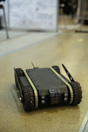 squad: Kiev, Ukraine - October 12, 2017: ground reconnaissance robot developed by Ukrainian designers exhibition Arms and Security - 2017 Editorial
