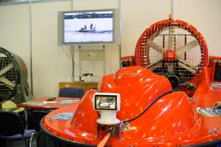 aéroglisseur: Kiev, Ukraine - October 12, 2017: hovercraft for firemen, demonstrated at the exhibition production Ukraine