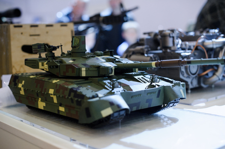 Kiev, Ukraine - October 12, 2017: models of modern military equipment of Ukrainian production tank Bulat at the exhibition Arms and Security - 2017 Editorial