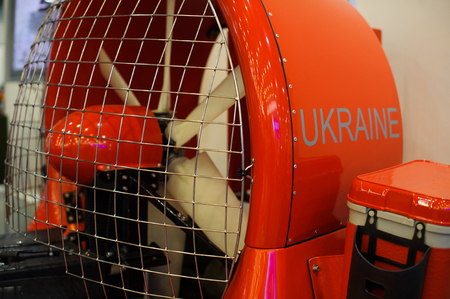 Kiev, Ukraine - October 12, 2017: screw boat cutter on an air cushion for firemen, demonstrated at the exhibition production Ukraine Editorial