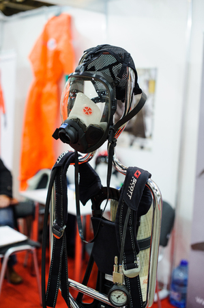 Kiev, Ukraine - October 12, 2017: personal protection gas mask at the exhibition in Kiev Editorial