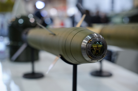 Kiev, Ukraine - October 12, 2017: guided anti-tank and anti-aircraft missiles at the exhibition Arms and Security - 2017
