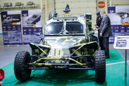 Kiev, Ukraine - October 12, 2017: military buggy of Ukrainian production at the exhibition Arms and Security - 2017