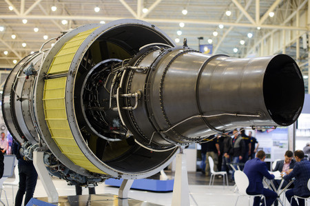 propulsion: Kiev, Ukraine - October 12, 2017: turbojet engine production ukraine Zaporozh sich exhibition Arms and Security - 2017