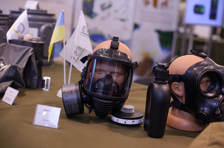 army face: Kiev, Ukraine - October 12, 2017: army gas mask at the exhibition Arms and Security - 2017