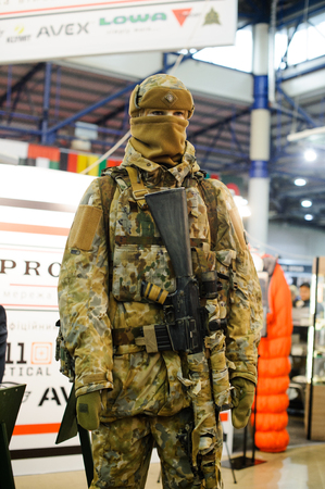 Kiev, Ukraine - October 12, 2017: Modern tactical military equipment and weapons demonstrated at the exhibition Arms and Security - 2017