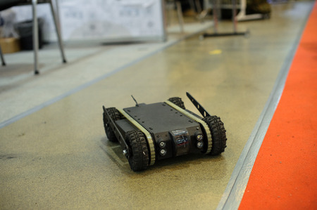 Kiev, Ukraine - October 12, 2017: ground reconnaissance robot developed by Ukrainian designers exhibition Arms and Security - 2017 Editorial