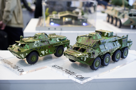 Kiev, Ukraine - October 12, 2017: models of modern military equipment of Ukrainian production exhibition Arms and Security - 2017