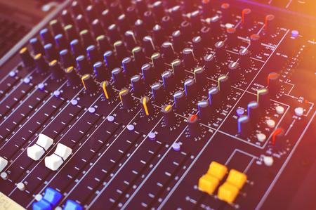 DJ mixing studio in the club stage light.