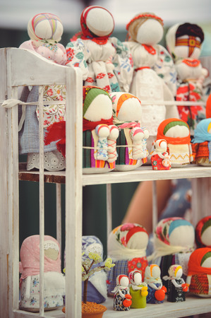 muñecas rusas: sale of dolls souvenirs in folk costumes of Ukraine.