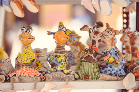 sale clay dolls souvenirs from clay, tourist places Ukraine.