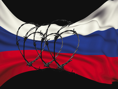 flag of the Russian Federation in barbed wire on a black background, sanctions and aggression of Russia. Stock Photo