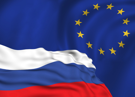 flag of the Russian Federation against the background of the European Union flag, the conflict of sanctions and aggression of Russia.