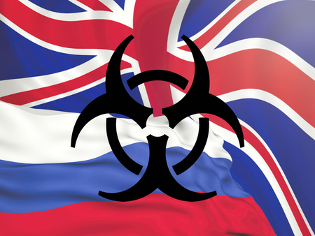 flag of the Russian Federation against the background of the European Union flag black chemical danger sign, conflict of sanctions and aggression of Russia.
