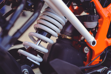 rear shock absorber for a sports motorcycle. 写真素材