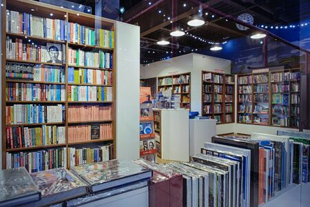 Kiev, Ukraine - December, 2018: Famous international books for sale in the Libri bookstore, one of the book retailers in Ukraine. - image Editorial